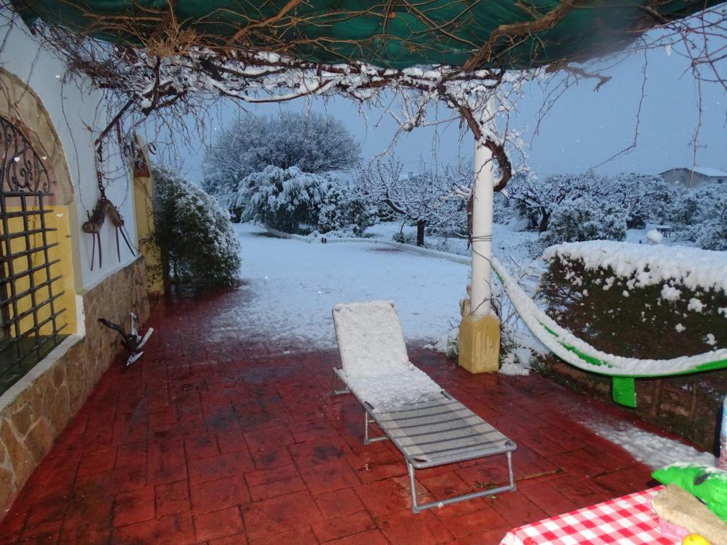 Schnee auf der Finca